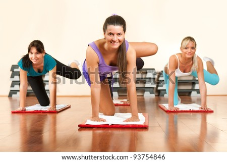 young and attractive women  group doing fitness exercises - stock photo