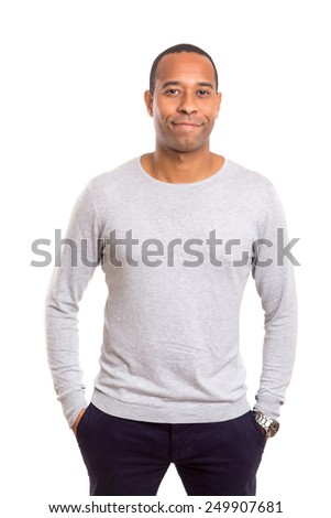 Young and beautiful african man posing isolated - stock photo