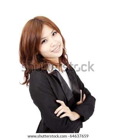 young and beautiful asian office lady - stock photo