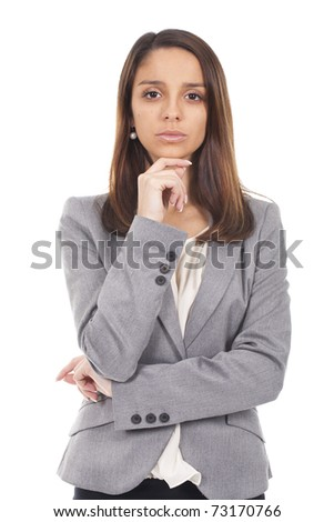 young and beautiful businesswoman standing - stock photo