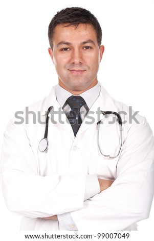 young and beautiful doctor standing and smiling with arms crossed