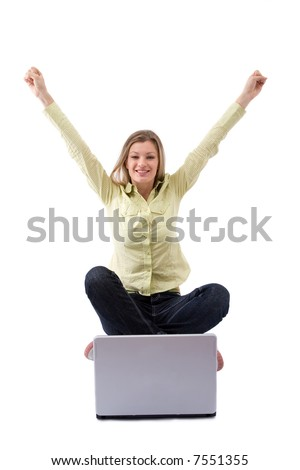 young and beautiful girl happy with her laptop on white