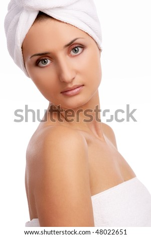 young and beautiful girl on white - stock photo