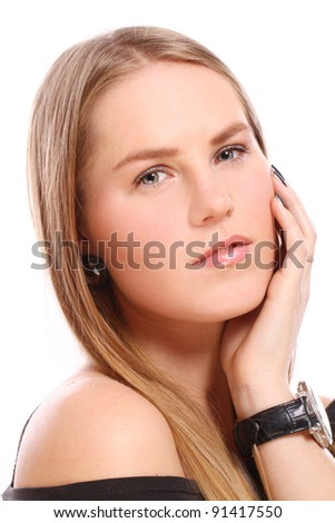 Young and beautiful girl over white background