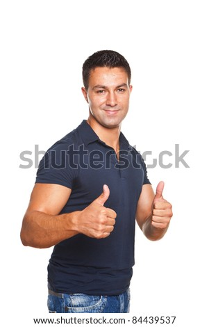 young and beautiful man making ok sign with both hands