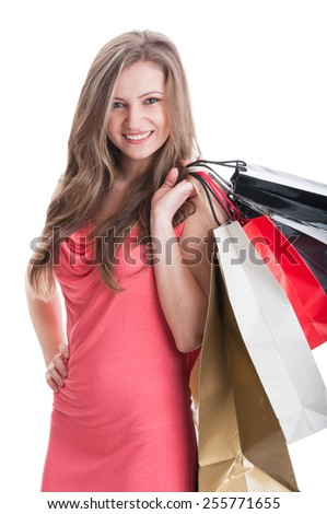 Young and beautiful shopping lady concept on white studio background - stock photo