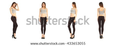 Young and beautiful student in black leggings isolated over white