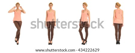 Young and beautiful woman in brown leather pants isolated over white