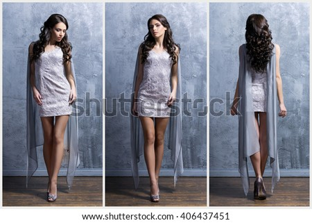 Young and beautiful woman in fashion dress. Lookbook set.