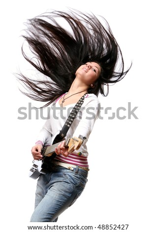 young and beautiful woman on white - stock photo