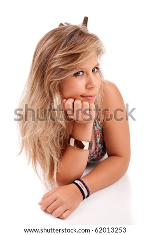 Young and beautiful woman posing - isolated - stock photo