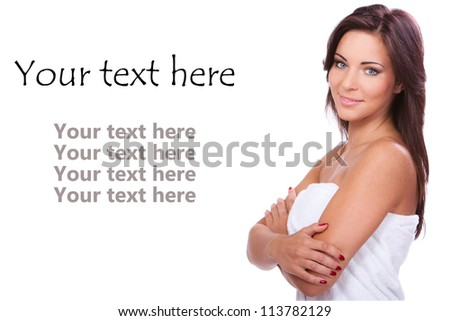 Young and beautiful woman with clean skin over white background - stock photo