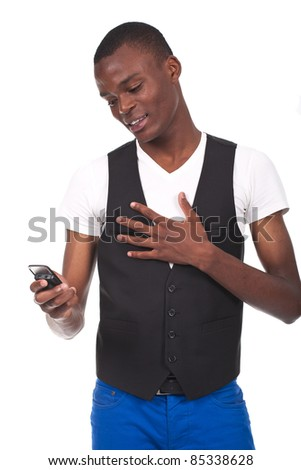 Young and black handsome boy calling on cellphone, isolated on white background - stock photo