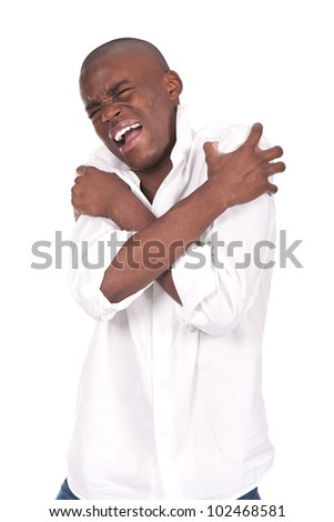 young and black man yelling and shouting with pain