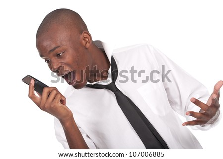 young and black man yelling at the cellphone - stock photo