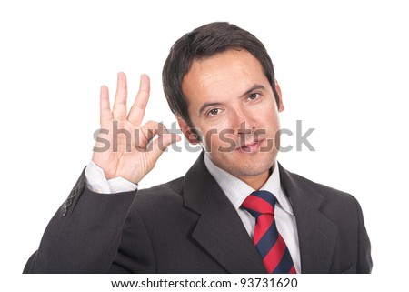 young and businessman making ok sign - stock photo