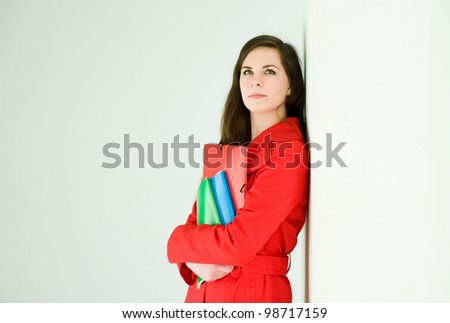Young and colorful, portrait of beautiful colorful young brunette student girl. - stock photo
