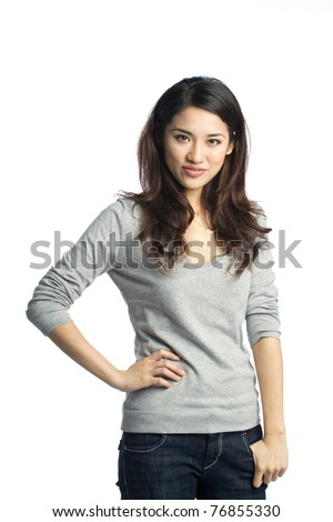 young and confident asian businesswoman - stock photo
