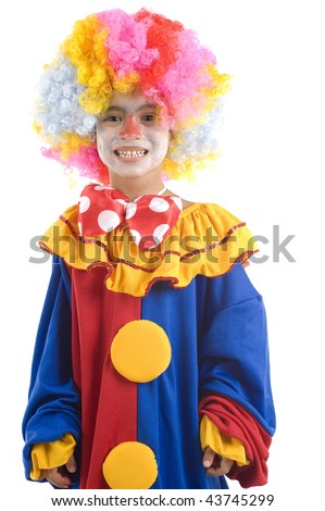 Young and cute clown making fun . - stock photo