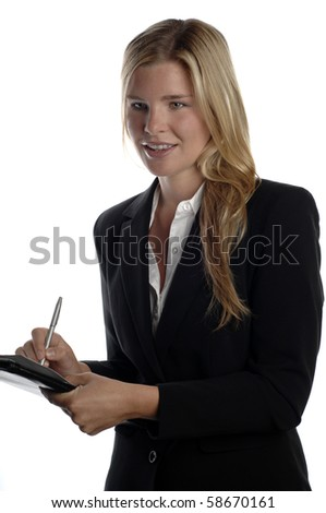 Young and energetic business woman holds pen and folder.