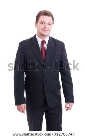 Young and friendly accountant or financial manager standing isolated on white - stock photo