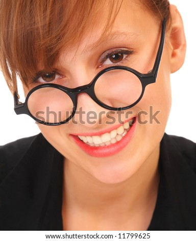 Young and good  looking business woman with glasses. Portrait of a beautiful friendly  woman