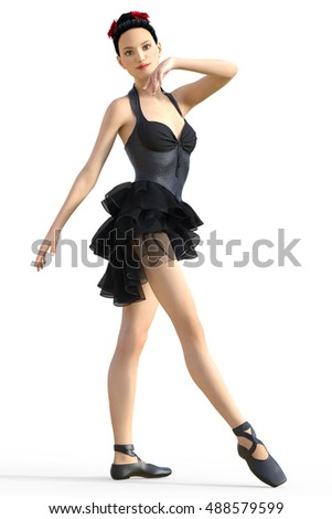 Young and graceful ballerina in black outfit isolated on white background. 3d CG render.