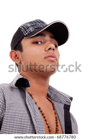 young and handsome latin man,serious isolated on white, studio shot - stock photo