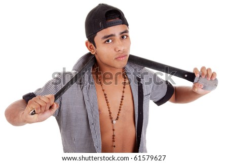 young and handsome latin man, with a belt - as a bad boy isolated on white, studio shot - stock photo