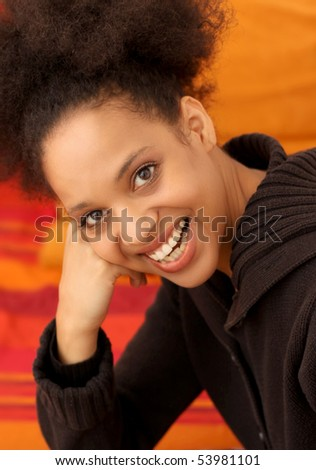 young and happy african woman - stock photo