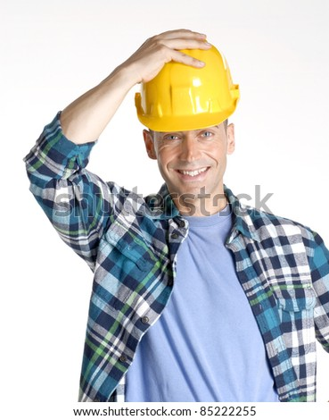 young and happy construction worker portrait