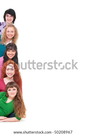 young and happy people. isolated on white background - stock photo