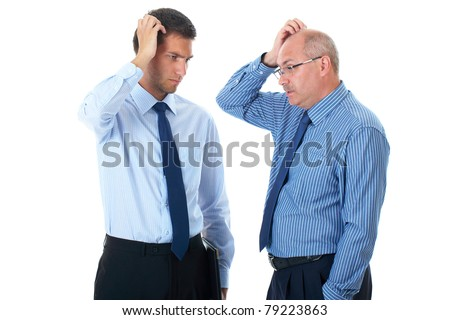 young and senior businessman scratch their heads, confused, thinking about something, isolated on white - stock photo