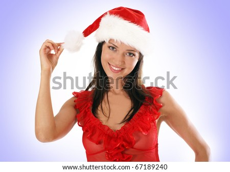 Young and sexy woman wearing erotic lingerie in Christmas style