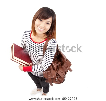 Young and Smiling Asian college student - stock photo