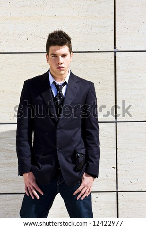 Young and smiling businessman portrait - stock photo