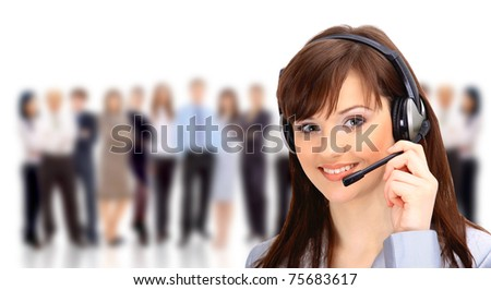 Young and smiling operator isolated over white background - stock photo