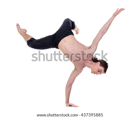 young and stylish modern ballet dancer posing