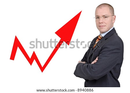 Young and successful business man with an illustration. Full isolated studio picture - stock photo
