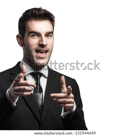 Young and successful businessman isolated with white copy space for your text. - stock photo