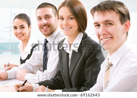 Young and successful businessteam - stock photo