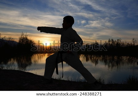 young and successful karate kid trains on the lake at sunset - stock photo