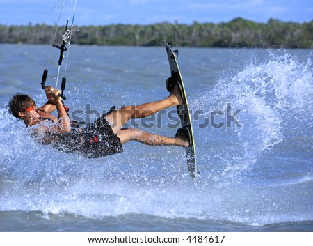 young and talented kitesurfer in brazil tatajuba, Jericoacoara,ceara - stock photo