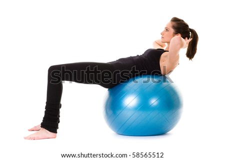 young and very attractive female exercise using blue fitness ball, studio shoot isolated on white - stock photo