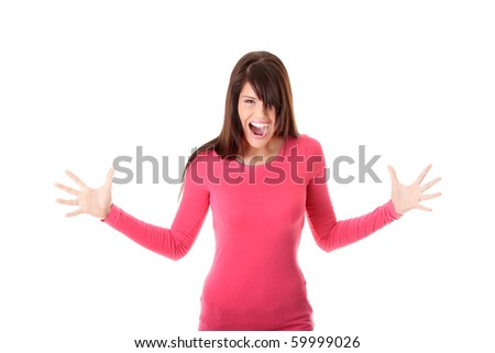Young angry beautiful woman portrait, isolated on white background - stock photo
