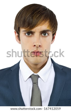 young angry businessman on white background - stock photo