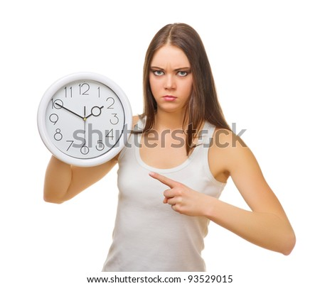 Young angry girl with clocks isolated