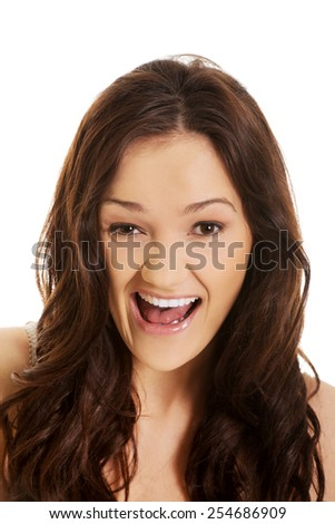 Young angry student woman shouting. - stock photo