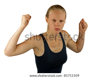 Young angry woman on white background - stock photo