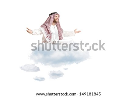 Young arab person sitting on a cloud isolated on white background - stock photo